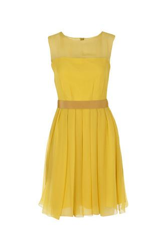 yellow sleeveless dress to wear for wedding