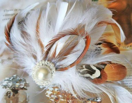 White Pearl n Feather Bridal Fascinator Hair Clip-Free Shipping