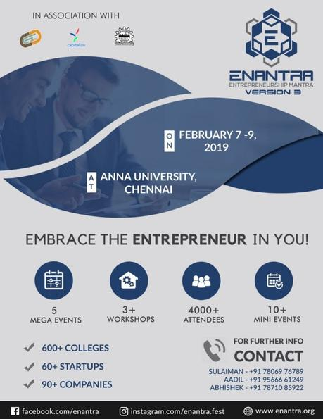 Enantra 2019 – Anna University's ENtrepreneurship mANTRA