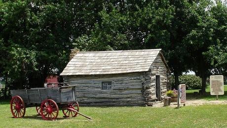 Image: Little House on the Prairie side view with wagon, by Sheila Scarborough on Flickr