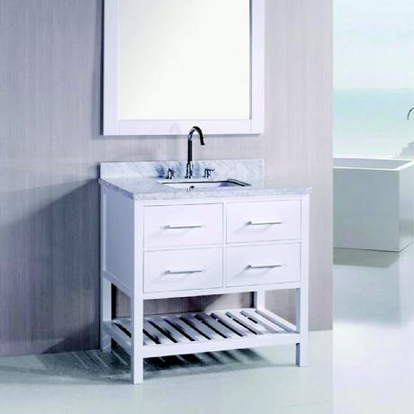 london single bathroom vanity in all white