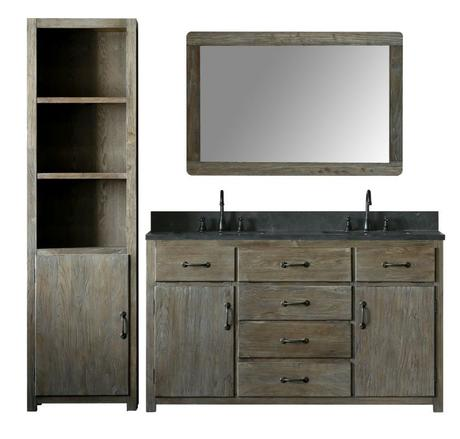rustic modern farmhouse bathroom vanity with black stone countertop and a double sink vanity