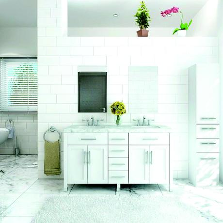 boardwalk double bathroom vanity in white with silver handles and marble top