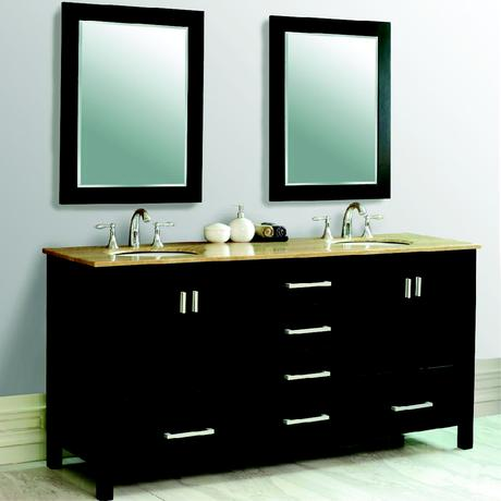 oslo double sink vanity in black with silver drawer handles