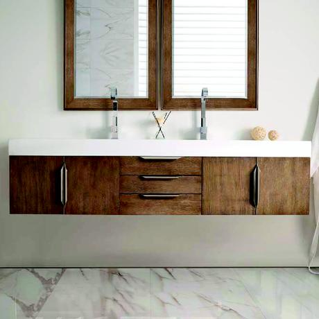 mercer island double sink floating vanity in latte oak