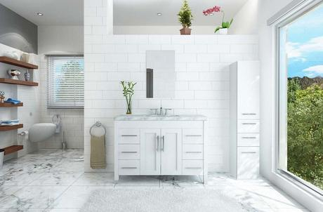 trade winds imports white bathroom vanity with modern marble countertop