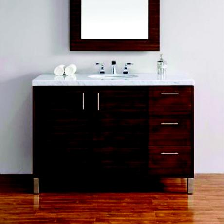 standing natural wood single vanity with marble top