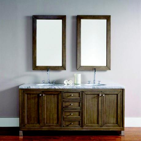 chicago double vanity in natural wood and two cabinets