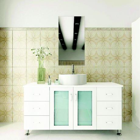 single vessel sink vanity in white with frosted glass cabinets