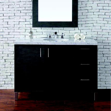 dark wood standing single bathroom vanity with marble top