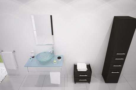 modern single sink bathroom vanity with clear vessel sink