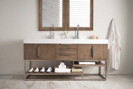 double sink modern vanity with all white countertop and natural wood accents