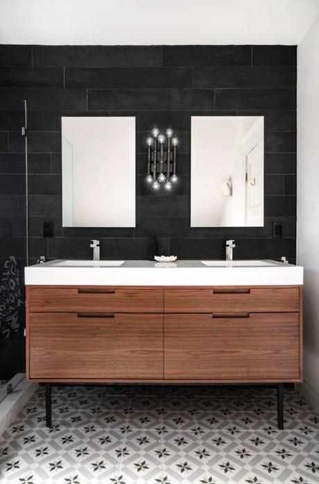 modern bathroom vanity with natural wood and white countertop