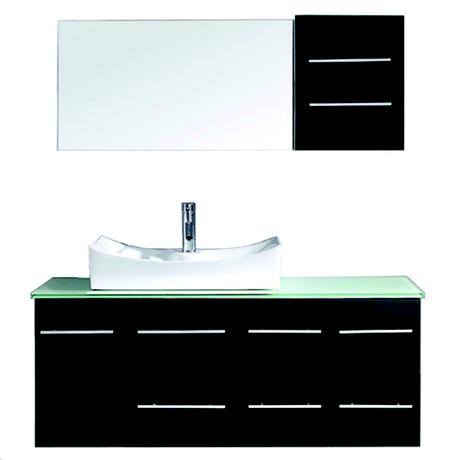 single bathroom vanity with vessel sink and glass top in black