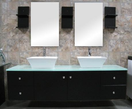 modern black double vessel sink floating vanity
