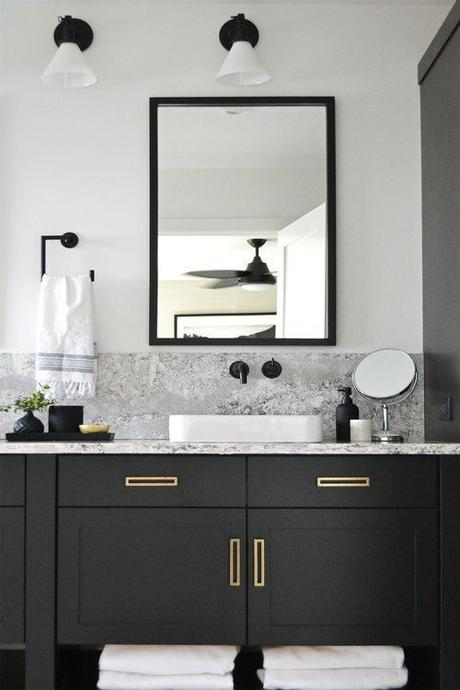 black modern bathroom vanity with matte black sink fixtures and gold cabinet hardware