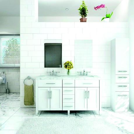 white boardwalk double vanity with marble top