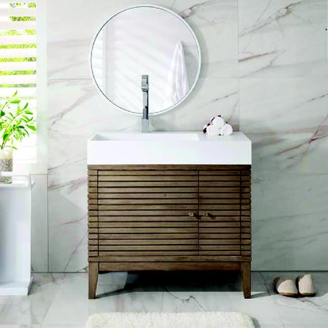single modern natural wooden vanity with linear slats