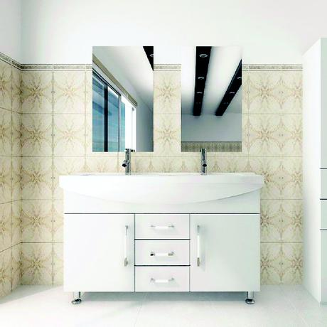 celine double sink vanity in white with chrome fixtures