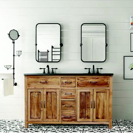 woodland bluestone farmhouse double vanity made from reclaimed wood