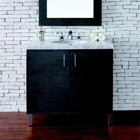 metropolitan single vanity in espresso with stone top and two cabinets