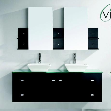 clarissa double sink vanity in espresso with vessel sinks and glass top