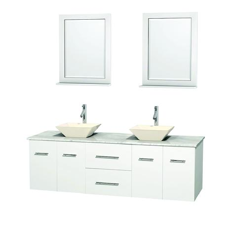 centra double bathroom vanity in matte white with vessel sinks and stone top