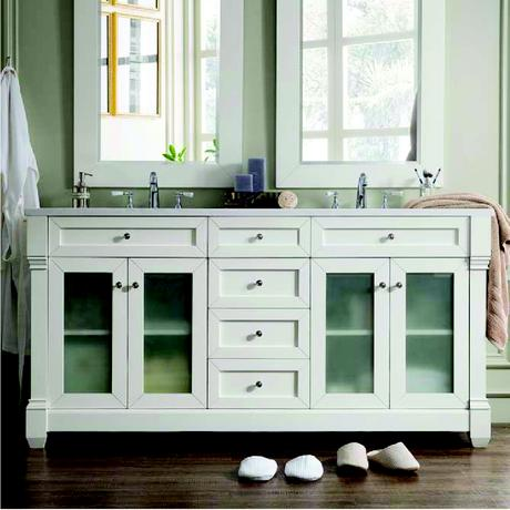 weston double vanity in white with glass doors