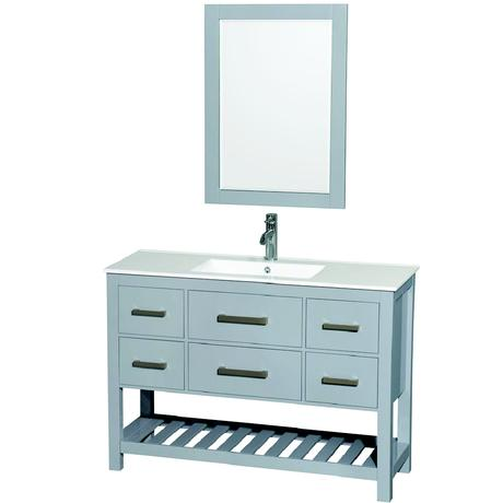 gray single modern bathroom vanity