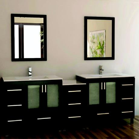 double vanity with black espresso and off white counter tops
