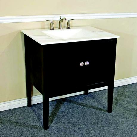 basic single standing vanity with cabinet