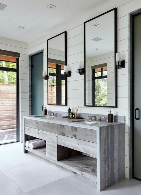 shiplap walls with double natural wood bathroom vanity natural light
