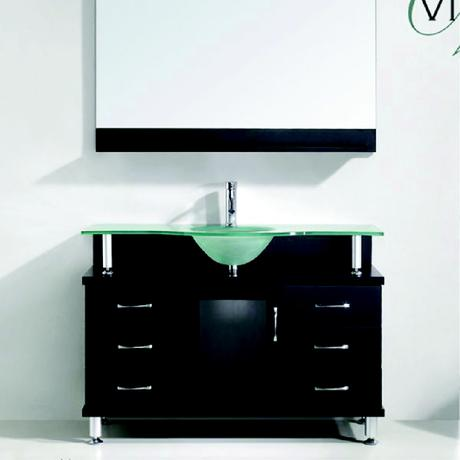 vincente single bath vanity in espresso with elevated glass top