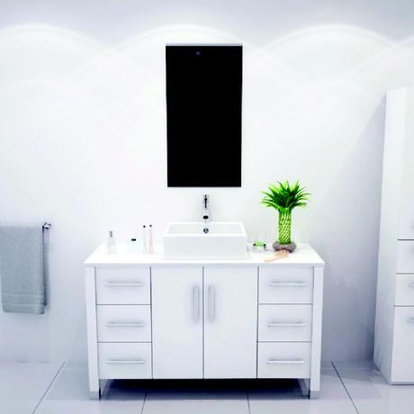 all white single bathroom vanity with vessel sink