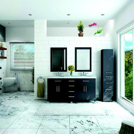 rana double bathroom vanity with white stone top in espresso