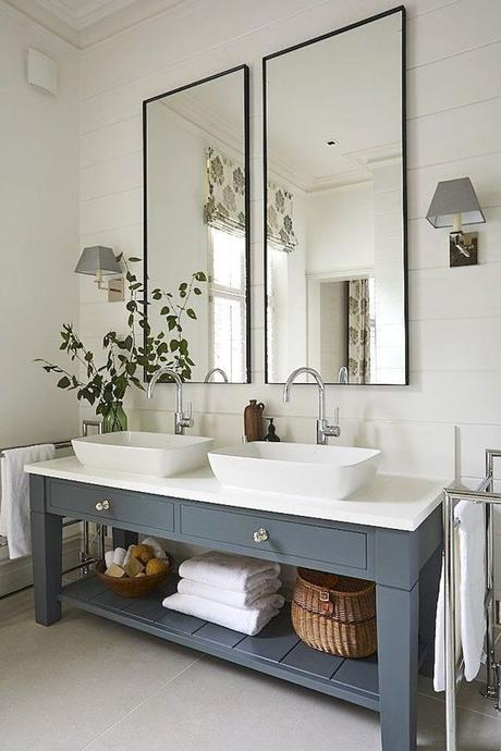 modern farmhouse bathroom vanity in gray with two vessel sinks