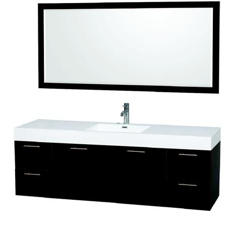 amare single bathroom vanity in natural wood with white top