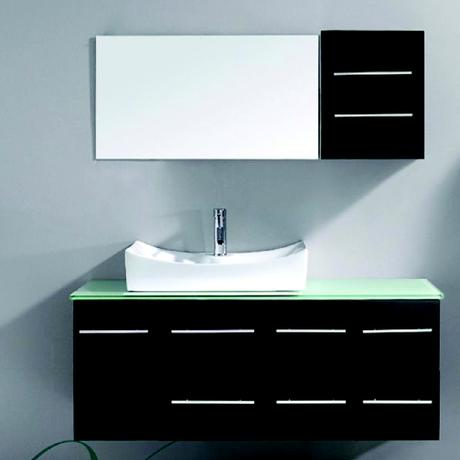 ceanna single bathroom vanity in espresso with glass top