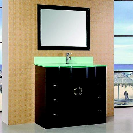aria single bathroom vanity in black