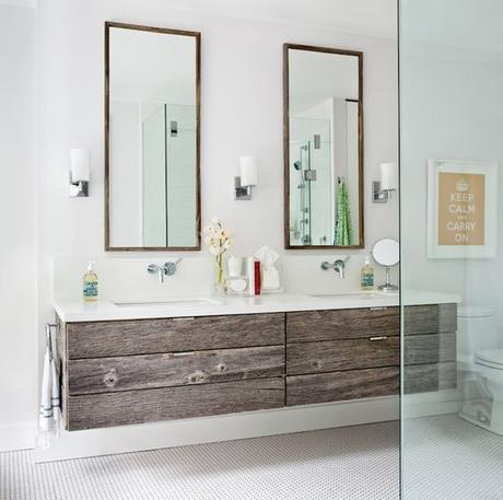 modern floating double sink vanity with reclaimed barnwood