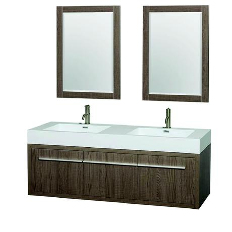 natural wood double floating vanity