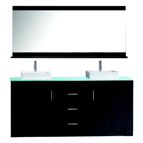 simple modern black double vessel sink vanity with silver pulls