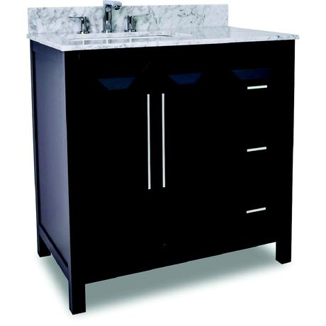 single vero vanity with marble top in dark espresso