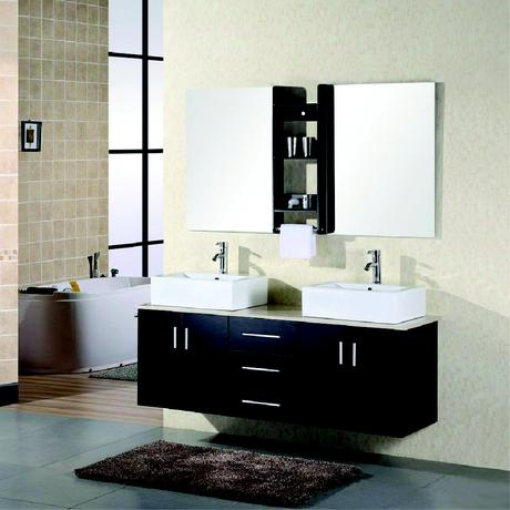 portland double floating vessel sink vanity