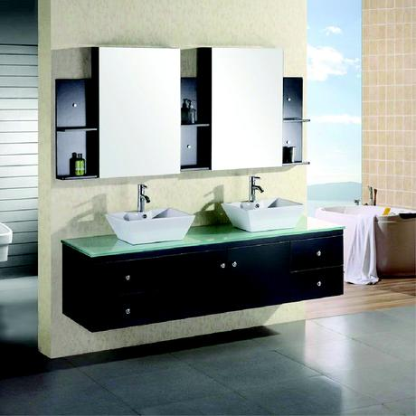 double floating sink vanity in espresso with glass top
