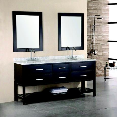 dark wood standing double vanity