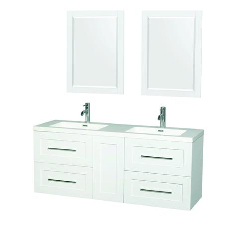 olivia double bathroom vanity in white with gloss finish