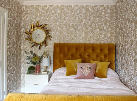 Feminine bedroom inspiration - featuring cream and gold 'Espinillo' wallpaper by Harlequin.