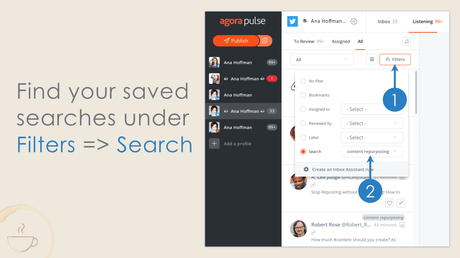 Where to find your Twitter searches in Agorapulse.