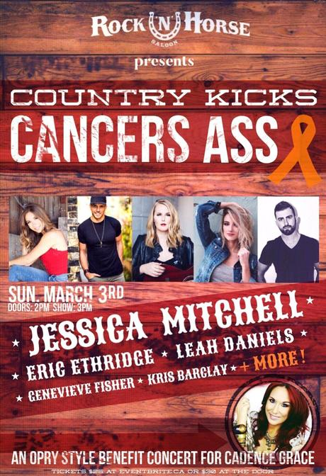 Country Kicks Cancers Ass Benefit for Cadence Grace Announced!